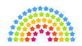 Isolated origami rainbow stars on a white background Royalty Free Stock Photo