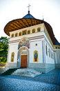 Isolated orthodox ancient romanian monastery Royalty Free Stock Image