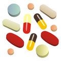 Isolated painkiller pills Stock Photography