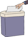 Isolated paper shredder person sticking in Stock Images