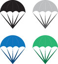 Isolated parachutes in various colors Stock Photos