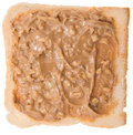 Isolated peanut butter sandwich on white Stock Photo