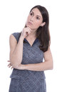 Isolated pensive young business woman on white background Stock Photos
