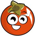 Isolated persimmon fruit in a cartoon version illustration representing nice idea to talk about this Stock Photography