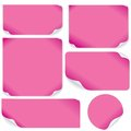 Isolated pink paper sheets vector pack ready for your text and design Stock Photography