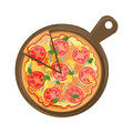 Isolated pizza on wooden board.