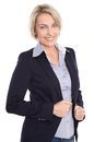 Isolated portrait of mature blond successful smiling manager businesswoman on white Royalty Free Stock Photography