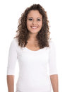 Isolated portrait: smiling young woman or girl in white with cur Royalty Free Stock Photo