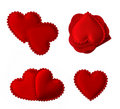 Isolated quilted fabric hearts Royalty Free Stock Photo