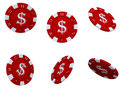 Isolated red poker chips Royalty Free Stock Photography