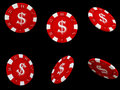 Isolated red poker chips Stock Photos