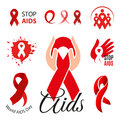Isolated red ribbon disease awareness logo. World Aids Day concept logotype set. Stop virus icon. International support