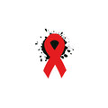 Isolated red ribbon disease awareness. World Aids Day concept. Stop virus icon. International support campaign for sick