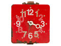 Isolated retro and red clock dial Royalty Free Stock Images