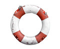 Isolated Rustic Lifebuoy Or Life Preserver Royalty Free Stock Photo