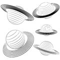 Isolated saturn planet line drawing pack Royalty Free Stock Photo