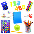 Isolated school supplies Stock Image
