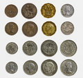 Isolated set of pre decimal english coins close up and detailed decimalisation including half penny penny three pence sixpence Stock Photos