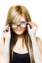 Isolated Sexy Girl Wearing Glasses On White Royalty Free Stock Image