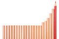 Isolated sharp red color pencil and brown pencils lay down in ba bar graphs shape on white background business concept of growth Stock Photography