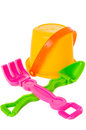 Isolated shot of beach toys, bucket Royalty Free Stock Photo