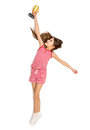 Isolated shot of happy active girl reaching high for trophy cup Royalty Free Stock Photo