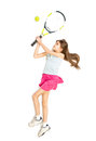 Isolated shot of happy brunette girl playing tennis Royalty Free Stock Photo