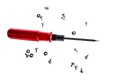 Isolated shot of red handle screwdriver and screws Royalty Free Stock Photo