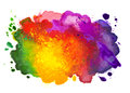 Isolated shot of watercolor stain hand drawn on canvas Royalty Free Stock Photo
