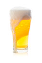 Isolated single glass of beer with bubble Royalty Free Stock Photo