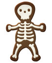 Isolated skeleton halloween cookie on white Stock Images