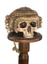 Isolated skull with court wig genuine on a creepy Stock Image