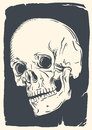 Isolated skull illustration on vintage broken paper of human dark blue Stock Image