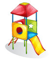 Isolated slide play equipment on white Royalty Free Stock Photos