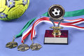 Isolated soccer medals and trophy Royalty Free Stock Images