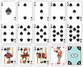 Isolated spade suit playing cards joker and back Royalty Free Stock Photos