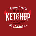 Isolated spicy ketchup vector logo. Natural product retro style emblem.