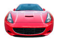 Isolated sports car racing red color with wild headlights frontal view Royalty Free Stock Photography