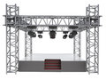 Isolated stage podium with many spotlights illustration Royalty Free Stock Images