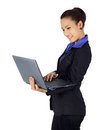 Success young business woman with laptop computer on white Royalty Free Stock Photo