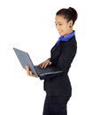 Success young business woman with laptop computer on wh Royalty Free Stock Photo