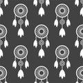 Tribal decoration bohemian dreamcatcher boho feathers native seamless pattern dream chic design vector illustration