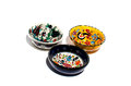 Isolated turkish bowls colorful from the bazaar on white Royalty Free Stock Photo