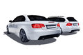 Isolated two modern cars german bmw cabrio e bmw touring e on a white background Stock Photos