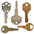 Isolated Various metal keys Royalty Free Stock Photos