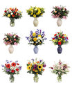 Isolated Vases of Flowers Royalty Free Stock Photos