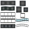 Isolated vector film strip set on white background