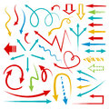 Isolated vector hand drawn arrows set bright color