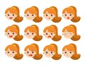 Set of Adorable Girl facial emotions. Girl face with different expressions. Schoolgirl portrait avatars. Variety of emotions teen