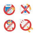 Isolated vector signs set of stop smoking cigarette